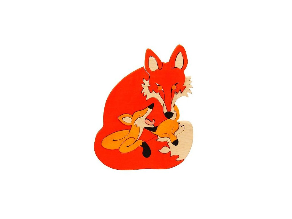 Dřevěné vkládací puzzle liška s mláďátky Ceeda