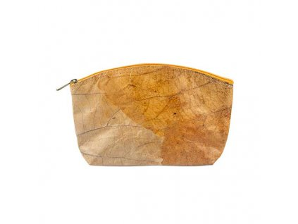 orange real leaf cosmetic bag Large front