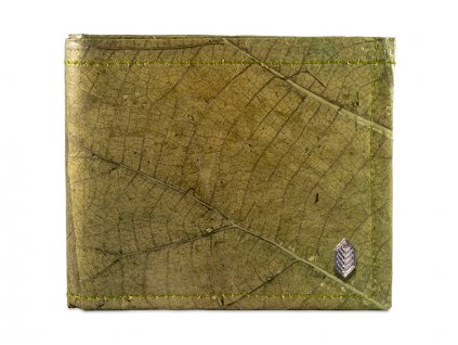 green real leaf wallet closed