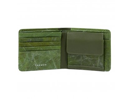 turquoise real leaf wallet closed
