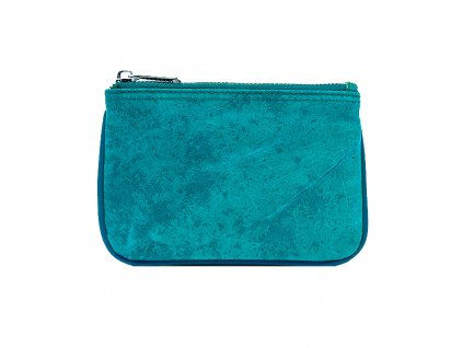 Coin purse Turquoise leaf leather THAMON 1800x1800