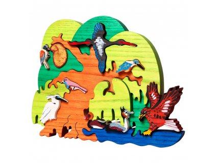 Dřevěné vkládací puzzle didaktické vodní ptáci Ceeda