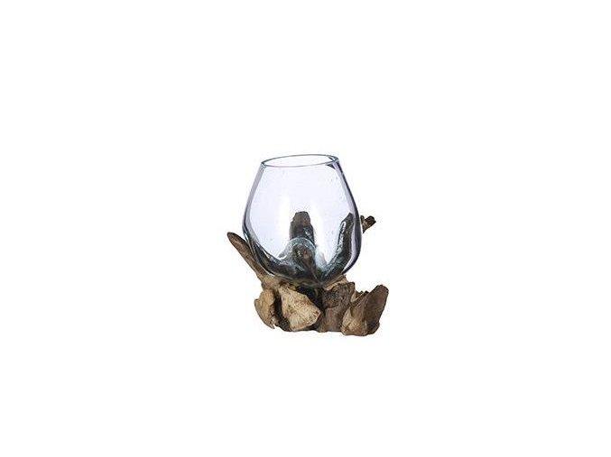 Skleněná váza FRAGARIA na dřevě 17x13 cm