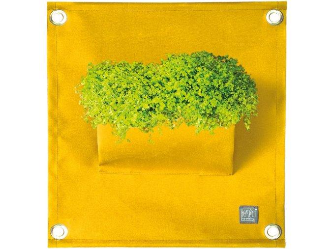 Kapsář na rostliny THE GREEN POCKETS AMMA 50x45 cm, žlutá