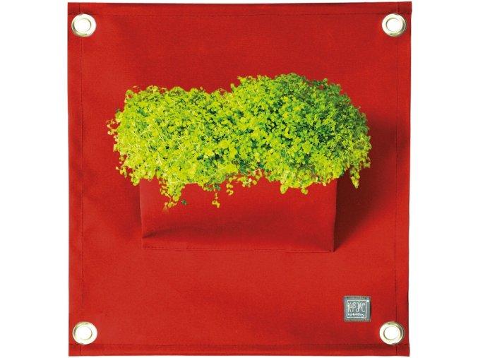 Kapsář na rostliny THE GREEN POCKETS AMMA 50x45 cm, tmavě červená