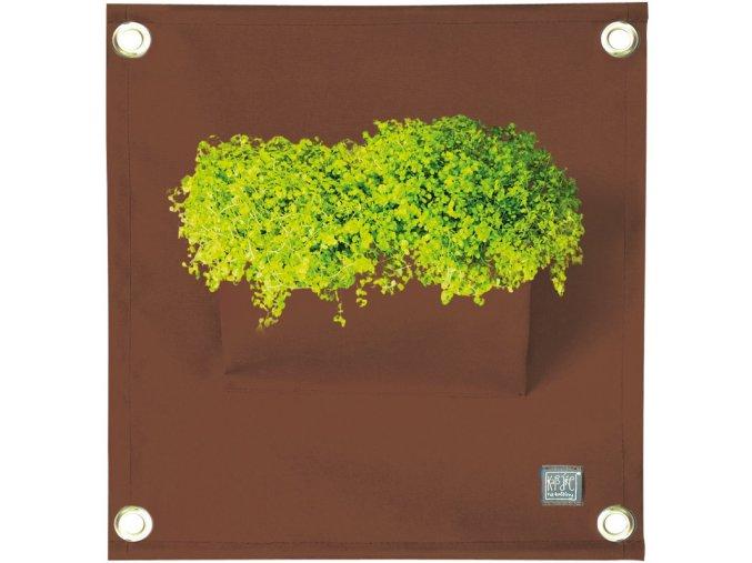 Kapsář na rostliny THE GREEN POCKETS AMMA 50x45 cm, hnědá