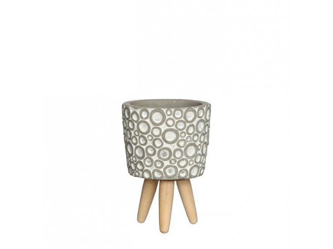 Gardners.cz Betonový květináč na dřevěných nohou s kroužky, průměr 10 cm