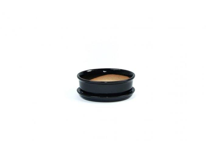 Gardners.cz Keramický obal na bonsai s podmiskou 7,5x10 cm, černá