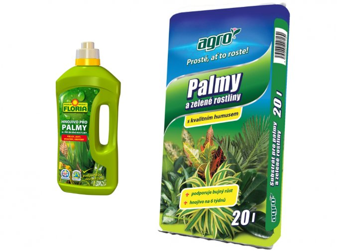 Set substrát a hnojivo pro zelené rostliny a palmy