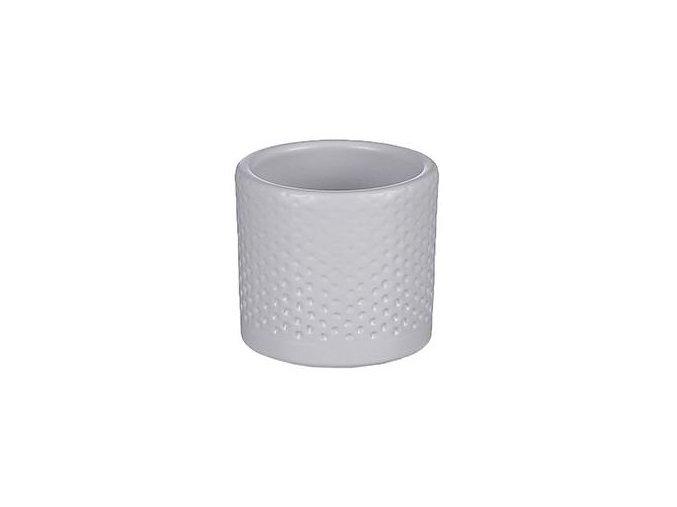 Keramický obal PALU vzor tečky 7 cm, bílá