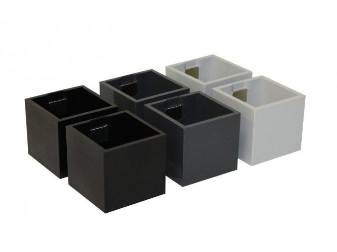 Set 6ks malých magnetických květináčů CUBE 3,5cm, černá
