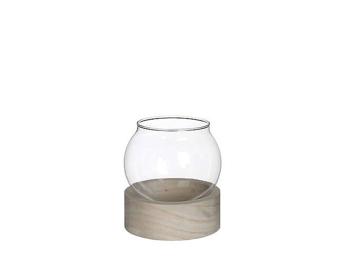 skleněná koule v dřevěném podstavci malá