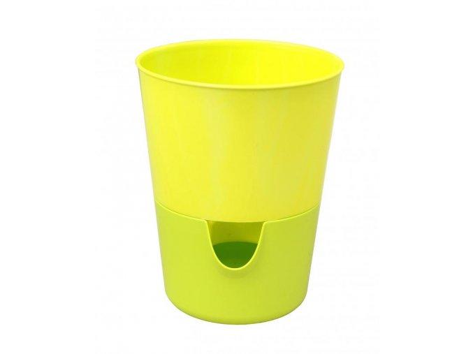 Samozavlažovací květináč Rosmarin ø 11 s okénkem, žlutá + zelená