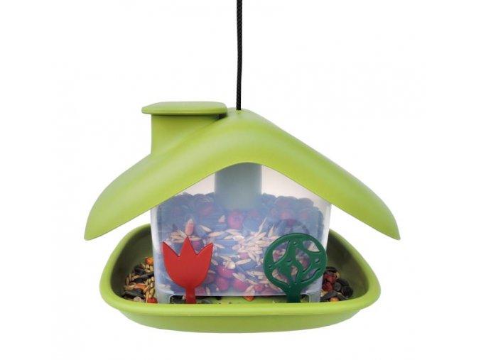 Krmítko pro ptáky Domek, zelená