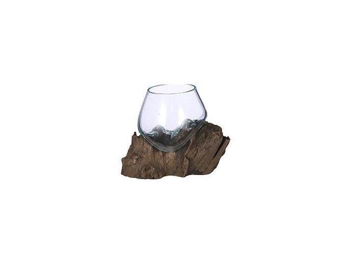 Skleněná váza FRAGARIA na dřevě 10x10 cm