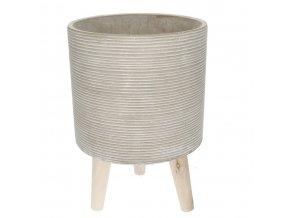 Betonový květináč na dřevěných nohou LAGOS 18 cm, šedá