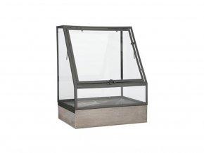 Kovové terárium skleník s dřevěnou základnou