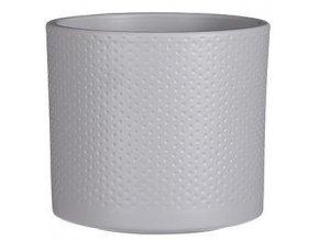 Keramický obal PALU vzor tečky 12 cm, světle šedá