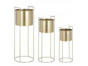 Set 3 kovových stojánků s květináčem, zlatá