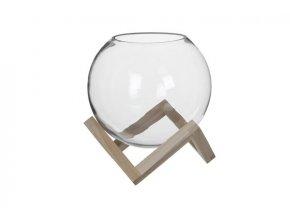 Skleněná koule AKEBIA v dřevěném podstavci, průměr 25 cm