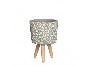 Gardners.cz Betonový květináč na dřevěných nohou s kroužky, průměr 12 cm