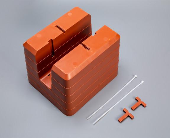T-vymezovací spojka Berberis sam. truhlík na zábradlí 30x26 mm, terakota