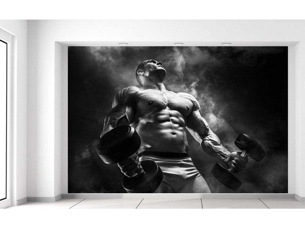 Fototapeta Silný bodybuilder black and white  + Dárek