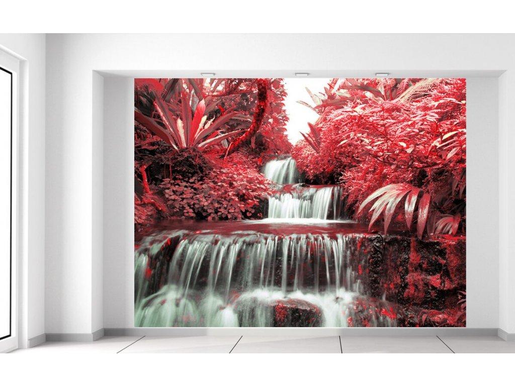 Fototapeta Vodopád v červené přírodě  + Dárek