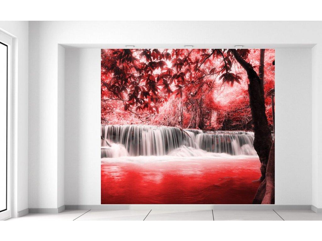 Fototapeta Vodopád v červené džungli  + Dárek