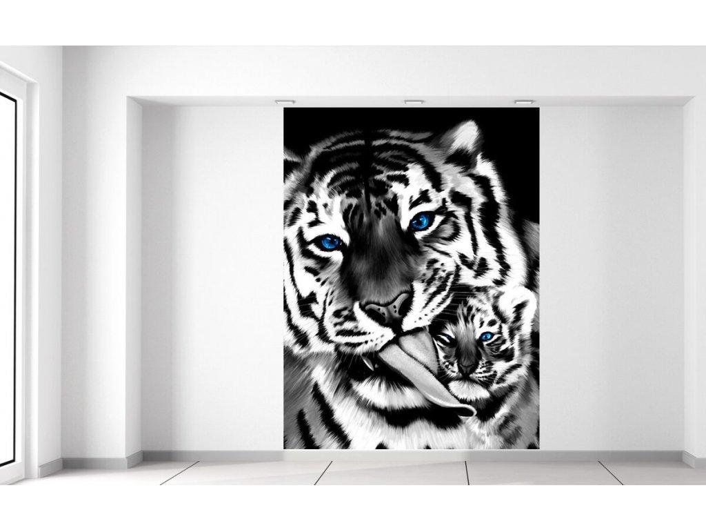 Fototapeta Černobílý tygr a tygřík 150x200cm  + Dárek