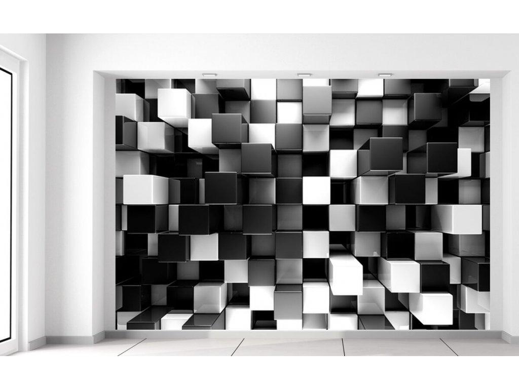 Fototapeta Černobílé 3D kostky  + Dárek