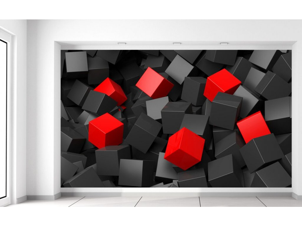 Fototapeta Černo - červené kostky 3D  + Dárek
