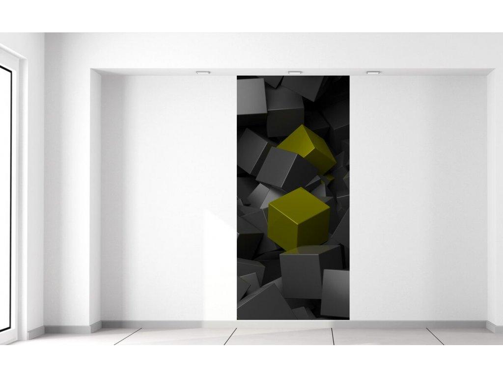 Fototapeta Černo - zelené kostky 3D  + Dárek