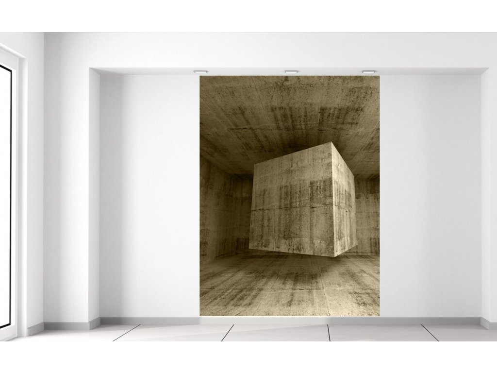 Fototapeta Létající kamenná kostka 3D  + Dárek