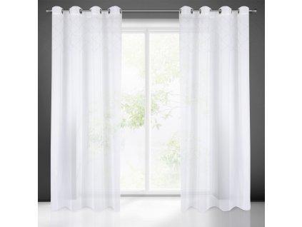 Hotová záclona PERLA 140 x 250 cm - Na kroužcích