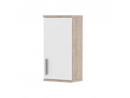 Horní koupelnová skříňka, bílá pololesk / dub sonoma, Lessy LI 04