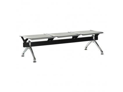 3-místná lavice do čekárně, stříbrná / černá, EMALA