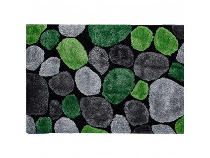 Koberec, zelená / šedá / černá, PEBBLE TYP 1
