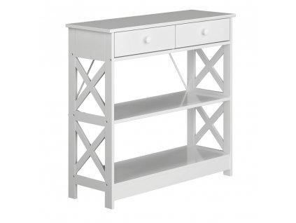Konzolový stolek, bílá, LOMIR