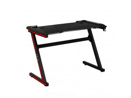 Herní stůl / počítačový stůl, s RGB LED osvětlením, černá / červená, MACKENZIE 100cm