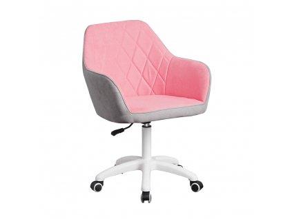 Kancelářské křeslo, látka růžová / šedá / bílá, SANTY