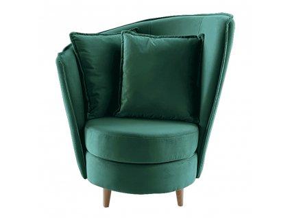 Křeslo ve stylu Art Deco, smaragdová Kronos látka / dub, ROUND NEW