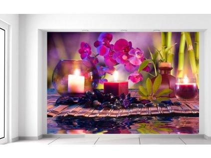 Fototapeta Stylová kompozice Orchidea a relax  Extra gramáž a tloušťka (180-212g/m2 a 100um)
