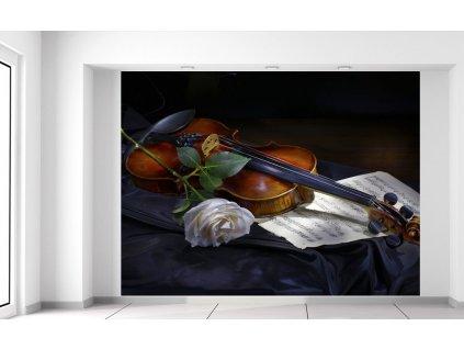 Fototapeta Housle a bílá růže  Extra gramáž a tloušťka (180-212g/m2 a 100um)