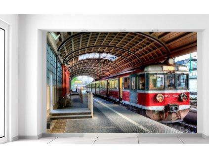 Fototapeta Červený vlak  Extra gramáž a tloušťka (180-212g/m2 a 100um)