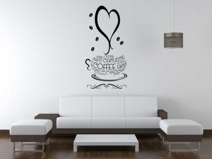 Nálepka na zeď Šálek kávy  Tištěná v HD