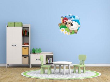 Nálepka na zeď pro děti Bílá ovečka  Tištěná v HD