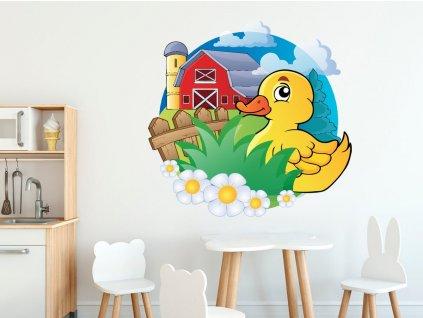 Nálepka na zeď pro děti Žlutá kačenka na farmě  Tištěná v HD