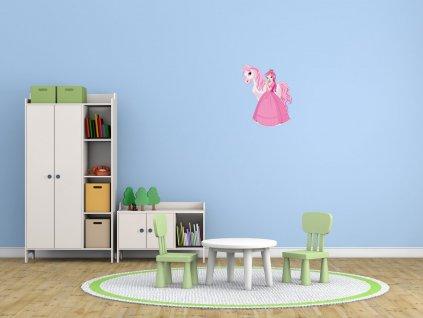 Nálepka na zeď pro děti Princezna s růžovým poníkem  + Dárek