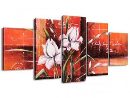 Ručně malovaný obraz Rozkvetlý tulipán 150x70cm  100% ručně malovaný
